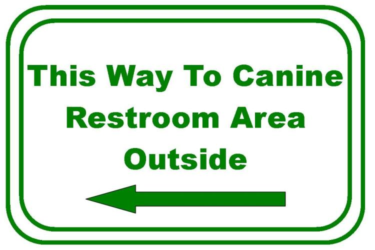 This way to the outdoor restroom area for our canine friends